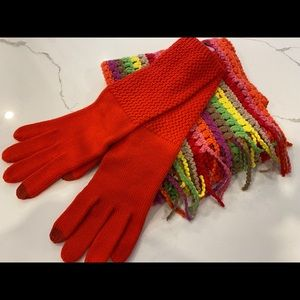 Echo strip knit scarf & red gloves(new)